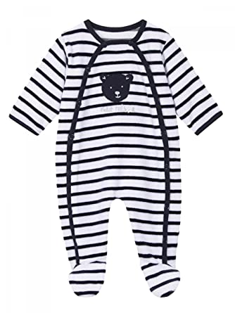9a4eee6488c04 Absorba - Pyjama dort Bien Naissance Velours rayé Bleu Marine bébé garçon