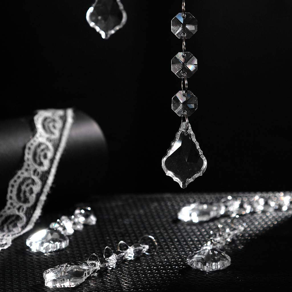 Icicle, 10pc Clear Crystal Beads Pendant for Chandelier Clear Glass Beads Lamp Chain Acrylic Crystal Garland Hanging Bead Ornaments for Tree Garlands Christmas Wedding Party DIY Decoration
