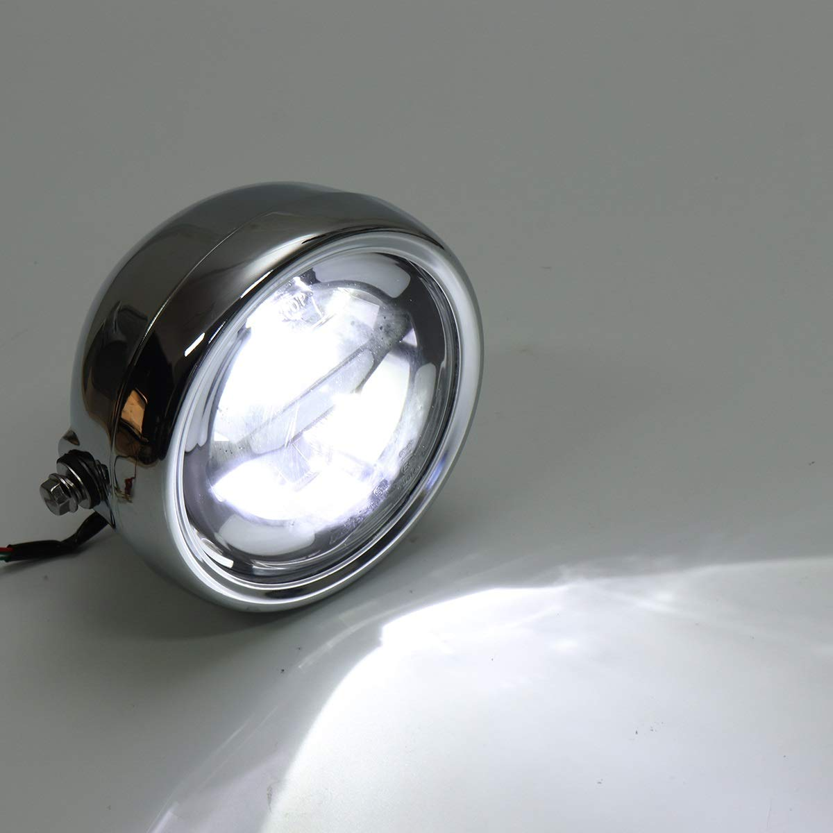 Color : Silver WCHAOEN Universal Motorcycle Headlamp Daytime LED Light High Lower Beam Refit Light E24 New car light