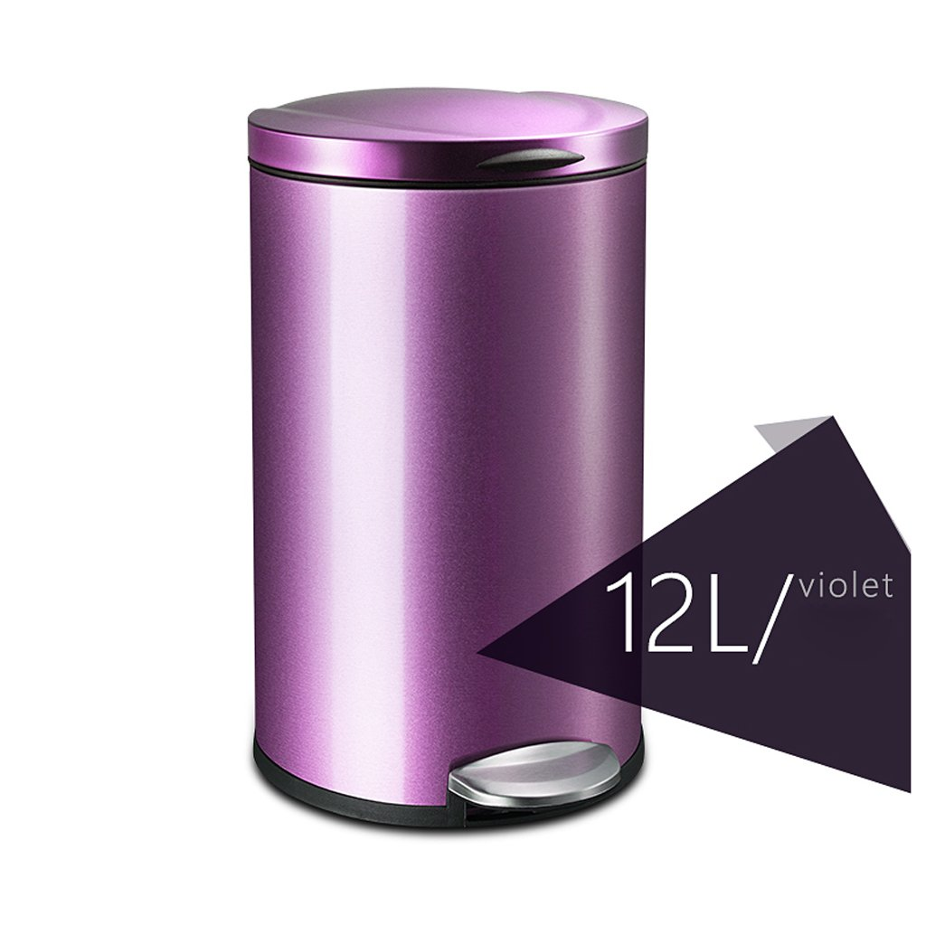 Stainless Steel Foot Trash Cans Household Kitchen Trash Toilet Office Cover Mute 12L ( Color : Purple )