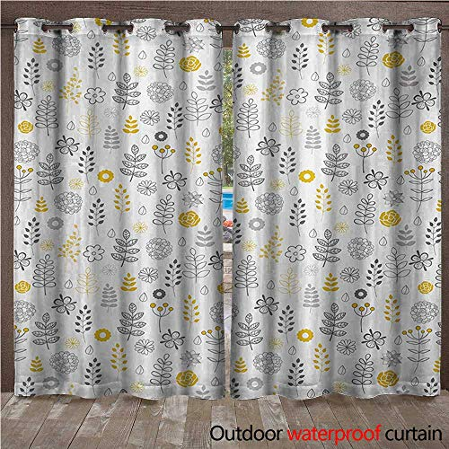 Modern Outdoor Curtain for Patio Nature Wild Forest Leaves Flowers Trees Buds Sketchy Contemporary Art Print W72 x L108(183cm x 274cm) ()