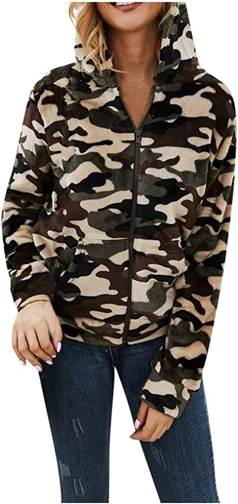 Leopard Camouflage Print Fleece Hoodie Pullover Sweatshirt with Pocket BALABA◕。Womens Winter Casual Plush Hooded Jacket