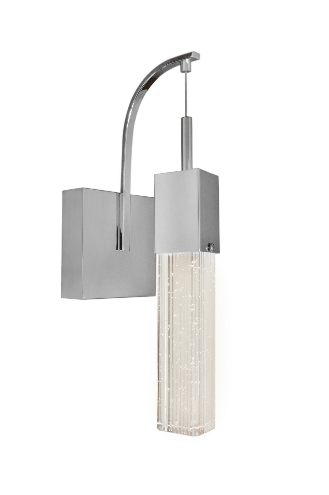 ET2 E22760-89PC Fizz III 1-Light LED Wall Sconce, Polished Chrome Finish, Etched/Bubble Glass, PCB LED Bulb, Wet Safety Rated, 3000K Color Temp., Shade Material, 320 Rated Lumens