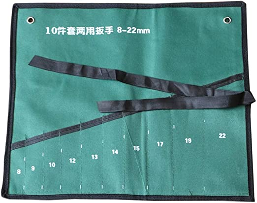 Multi-Pocket Canvas Roll Up Tools Spanner Wrench Storage Pocket Organizer Pouch