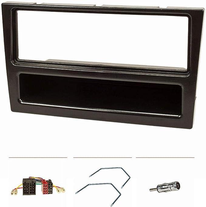 tomzz Audio 2439-061 - Juego de embellecedor de radio compatible con Opel Corsa C Combo Omega B Vectra C Meriva, color negro con adaptador de radio ...