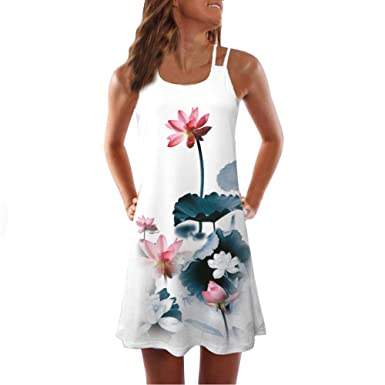 7d151c1b1d69 Womens Dress Summer O-Neck Boho Sleeveless Floral Beach Mini Dress Casual  T-Shirt Dress 3D Print Tank Mini Dress at Amazon Women's Clothing store: