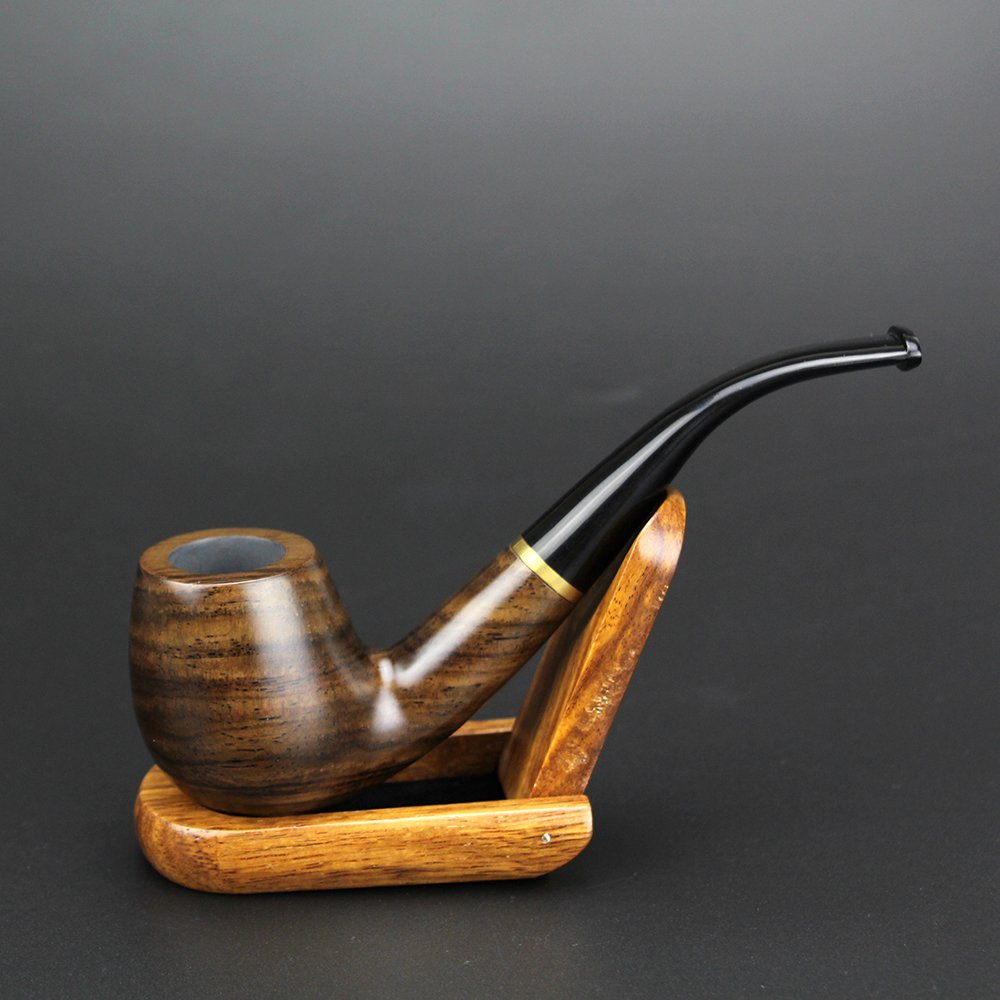 VT BigHome Vintage Bent Wooden Pipe 9mm Filter Pipe Pipe with 10 tools Metal Ring Ebony Wood Pipe Accessory
