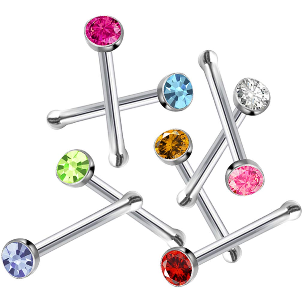 Tvoip 120Pcs 22G 2mm 316L Stainless Steel Crystal Nose Ring Set Women Girl Surgical Steel Nose Piercing Crystal Nose Stud Lot Body Jewelry