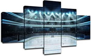 Ice Hockey Wall Art Modern Pictures for Home Artwork Painting Hockey Stadium Decor 5 Panel Canvas Prints Poster Boys Gifts House Decoration Framed Ready to Hang(60''Wx32''H)
