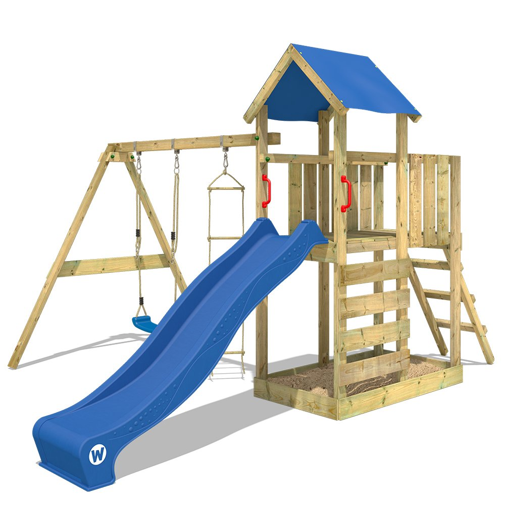 WICKEY Climbing Frame FastFlyer Playground with Swing and Slide, Rope Ladder and Sand Pit