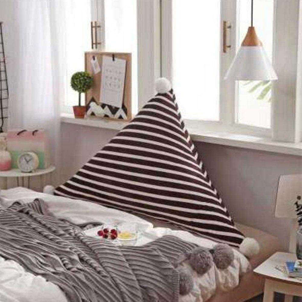 クッション ベッド背もたれ/ヘッドボードクッショントライアングルラージソファパッドストライプロングピローコットン充てん可能、6色、3サイズオプション 枕 (色 : 06, サイズ さいず : 120*75cm) B07F623CHJ 120*75cm|06 6 120*75cm