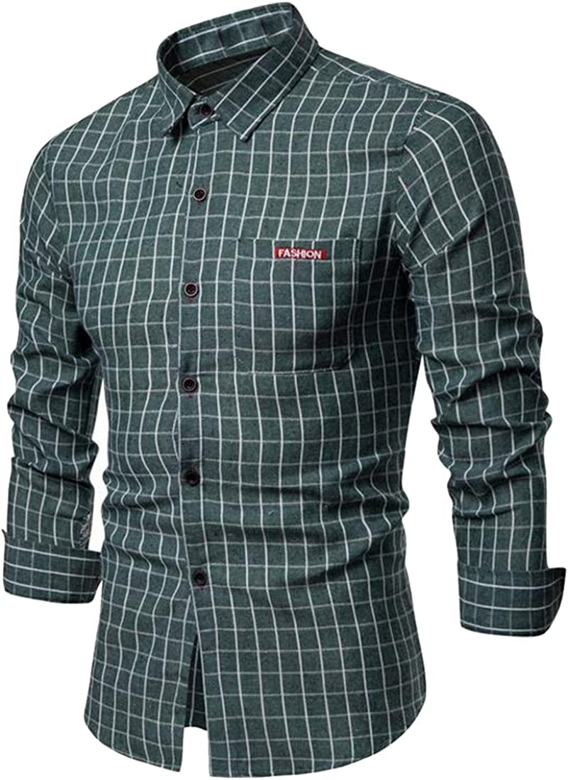 ARTFFEL Mens Button Up Contrast Casual Plaid Long Sleeve Slim Fit Flannel Checkered Shirt