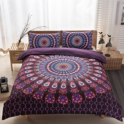 Bohemian Gypsy Quilt Cover Hippy Mandala Bedding Set for Bedroom Duvet Cover Sets,Patterns Duvet Cover Love Stretches National Wind Family of 3 Piece Bedding(Grape-Full-Boho Luxury - Set Gypsy Comforter