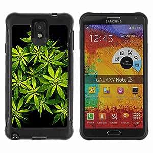 A-type Arte & diseño Anti-Slip Shockproof TPU Fundas Cover Cubre Case para Samsung Galaxy Note 3 III / N9000 / N9005 ( Weed Marijuana Bud Plants 420 )