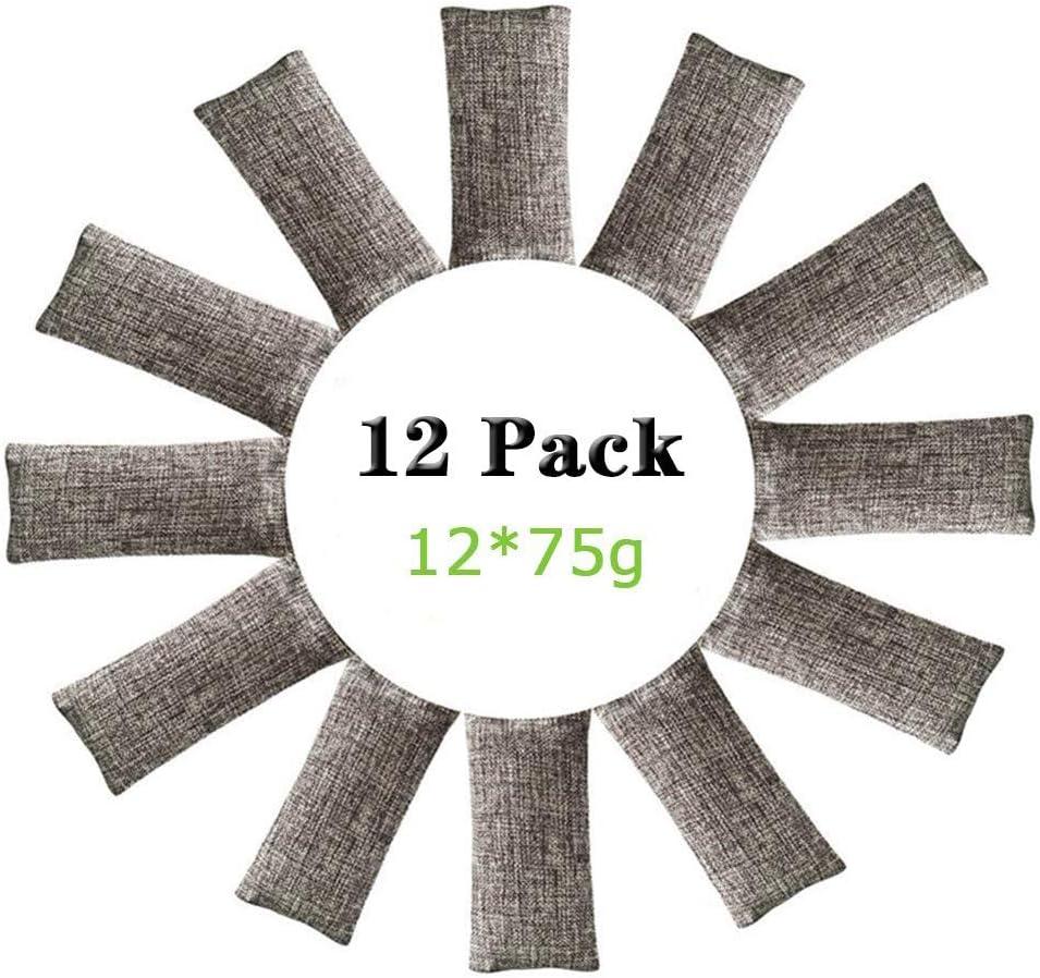 ENVEL Bolsa de ambientador de carbón de bambú, Bolsas de ambientador Natural, eliminador de olores de carbón Activado, ambientador Adecuado para Coche, baño, Cocina, clóset de Mascotas