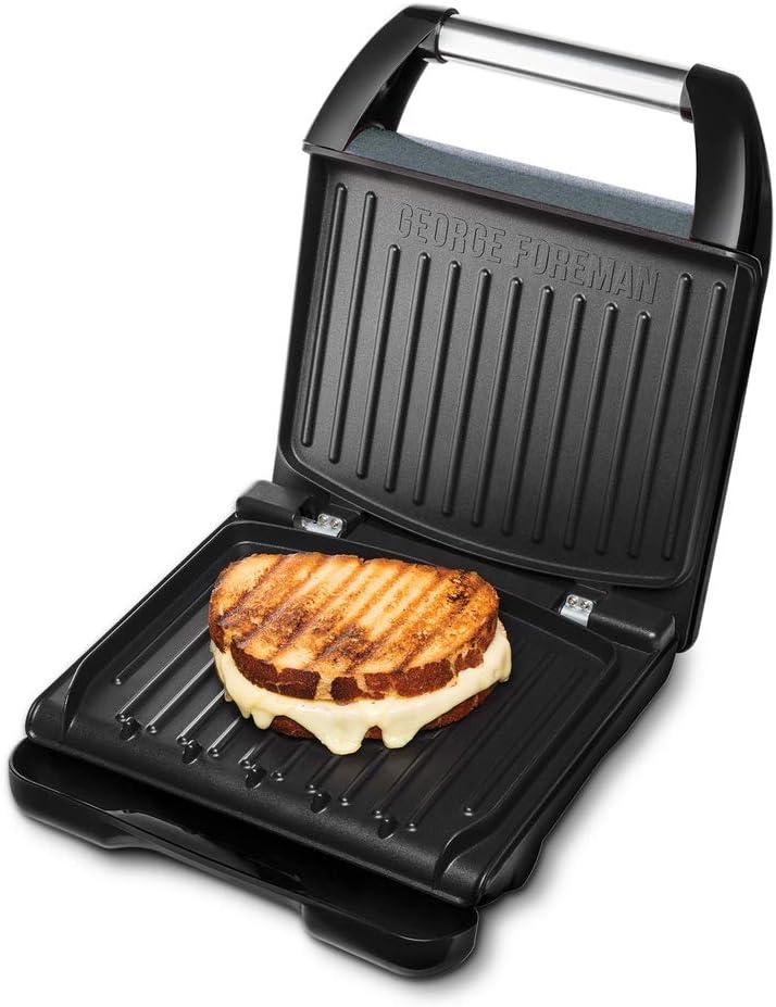 George Foreman 25041-56 - Barbacoa de contacto Family Steel, para panini y sándwiches, 28 x 17 gran superficie de parrilla para hasta 5 porciones, acero inoxidable/gris