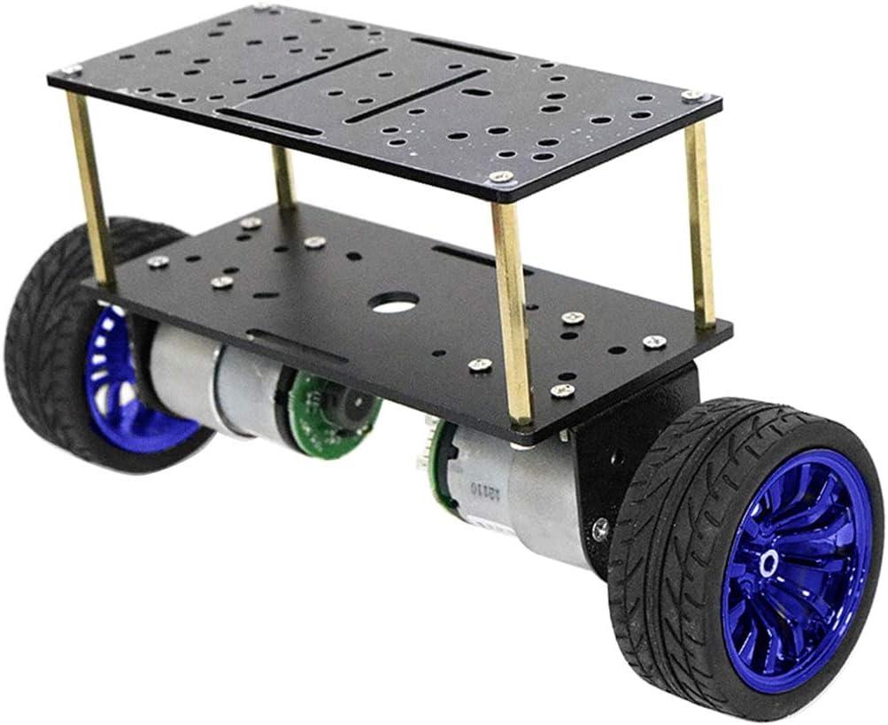 Milageto Doppeldeckmotor Zweiradroboter Smart Car Chassis Kits Für Heimwerker - Blau Blau