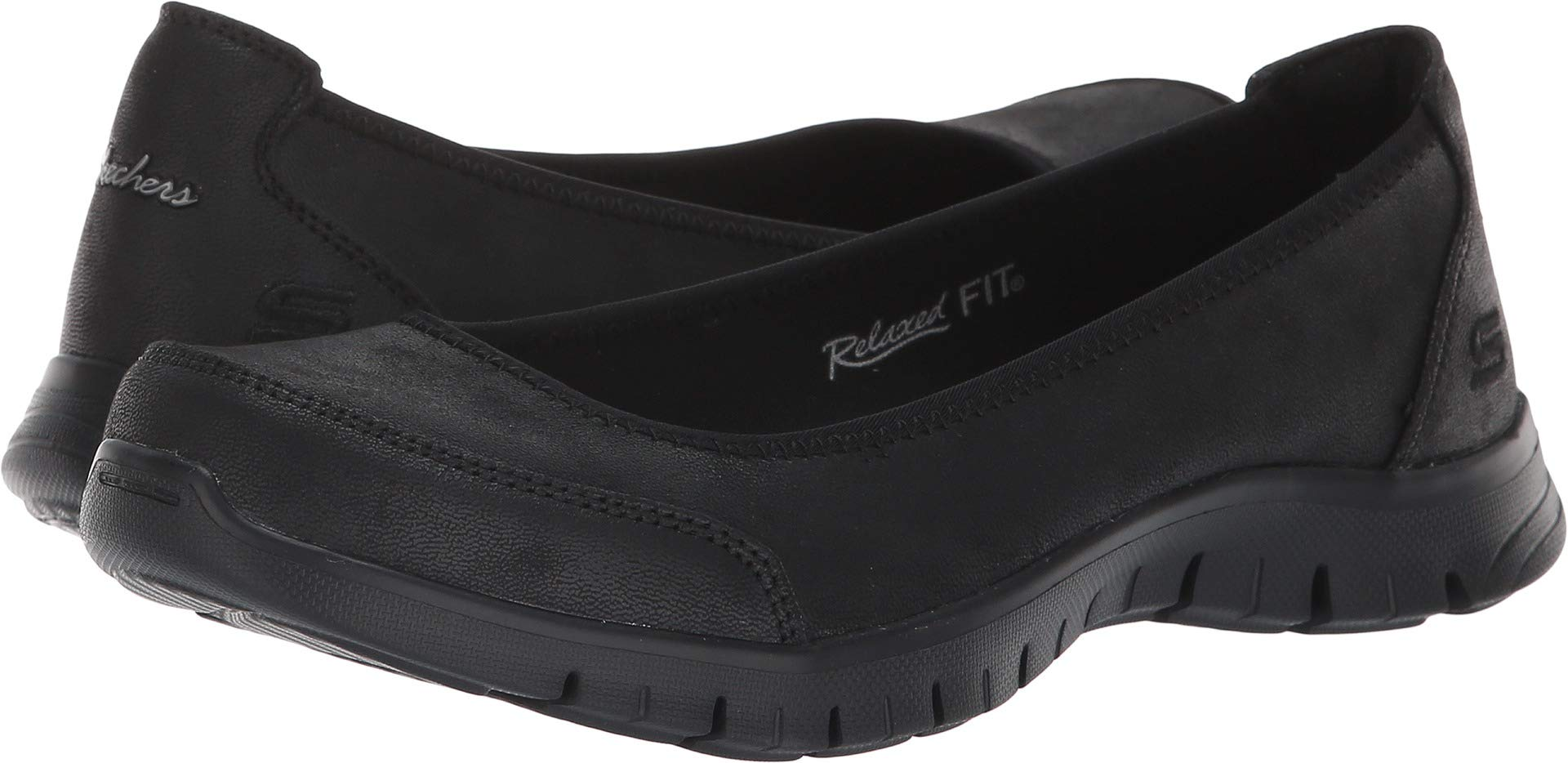 Skechers Relaxed Fit EZ Flex Renew Sweet Picture Womens Slip On Skimmer Sneakers Black 7.5