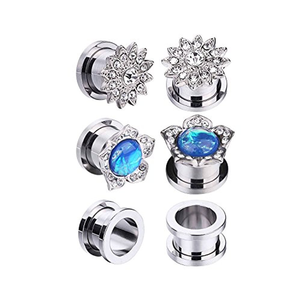 BodyJ4You 6PCS Screw Fit Ear Plugs Surgical Steel Created-Opal Stretcher Flower Gauges Set 00G (10mm)