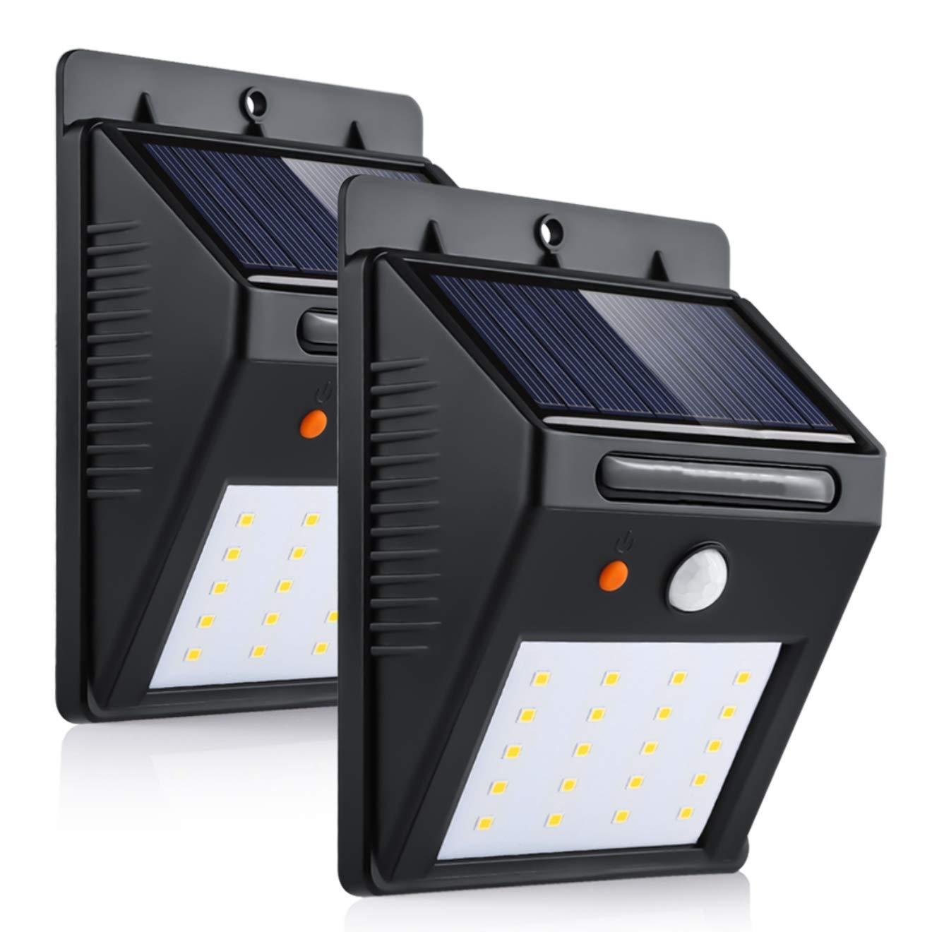 Luz de Solar 3 modos 20LED Luces Solares LED de Pared Sensor de Movimiento Super Brillante Impermeable Inteligentes para al Aire Libre, Jardín, Cerca, ...