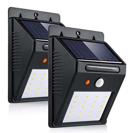 Luz de Solar 3 modos 20LED Luces Solares LED de Pared Sensor de Movimiento Super Brillante