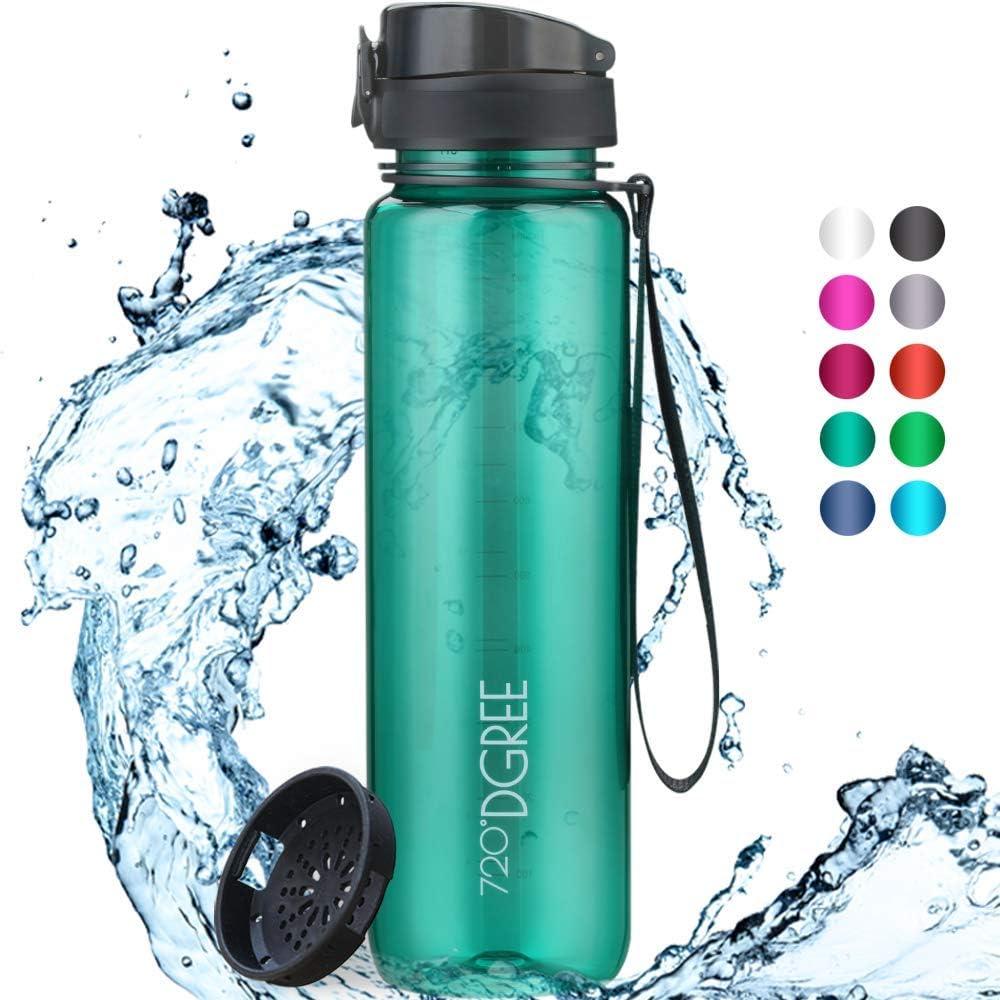 """720°DGREE Botella de Agua """"uberBottle"""" translúcido – 1000ml   Impermeable y Reutilizable   para Beber Ideal para niños, Deporte, Escuela   Sin BPA   con Colador de Frutas"""