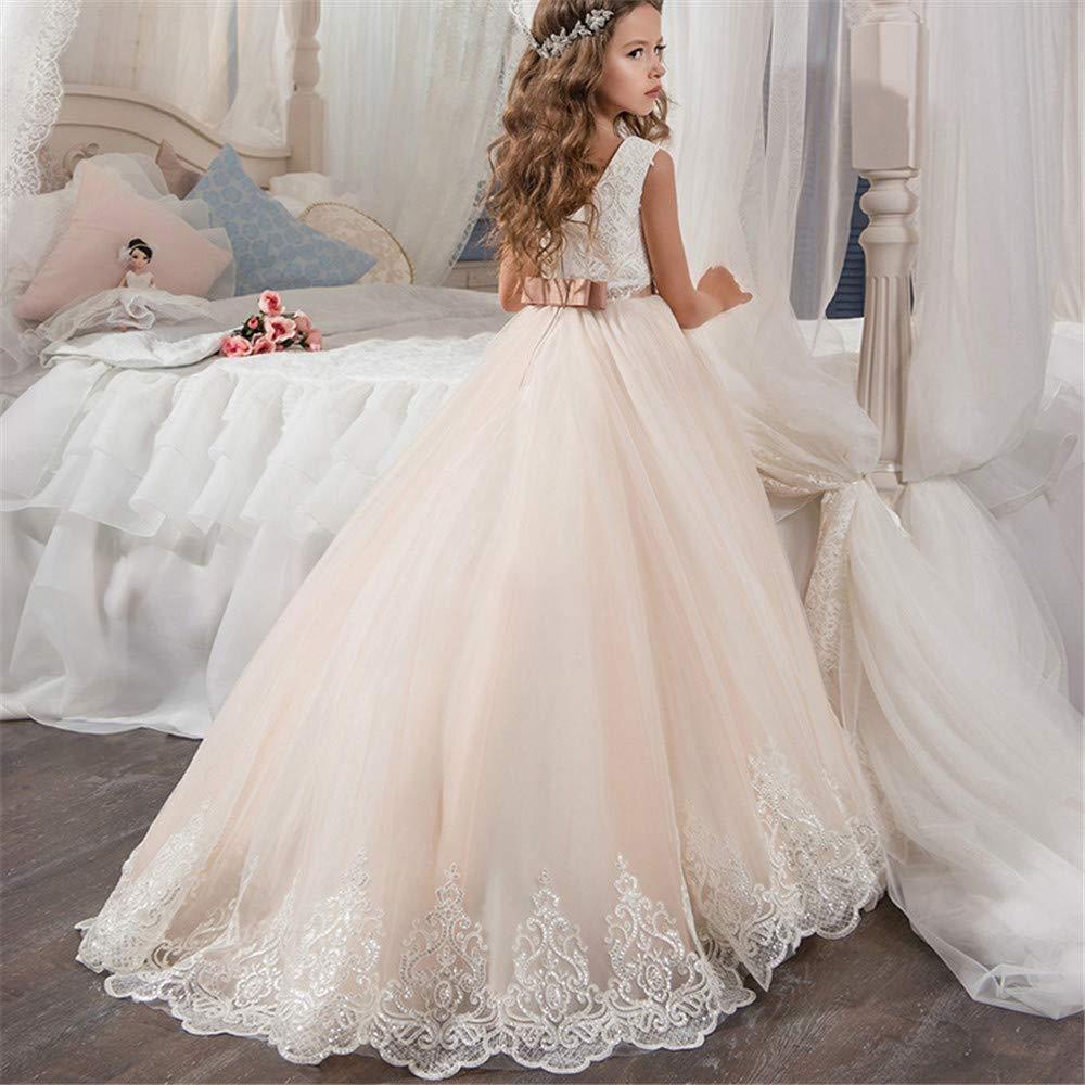Traje de cosplay princesa Vestido de boda para niños Chicas de encaje Flor de flor caliente Puff Princesa Vestido Concurso Fiesta de cumpleaños Largo Maxi ...