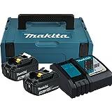 Makita Power Source Kit mit 2 Litium Ion Akkus, 18 Volt, 3,0 Ah und einem Ladegerät in Aufebewahrungsbox MAKPAC 1, Stück, Türkis;Schwarz, 197952-5
