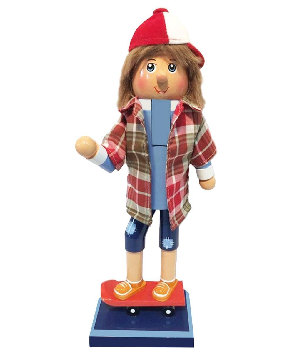 Christmas Nutcracker Figure Fun Skateboard Boy With Red and White Baseball Hat