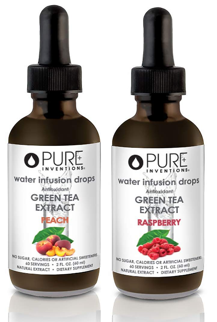 Pure Inventions, Antioxidant Green Tea Extract Water Infusion Drops - 2 fl. Ounce (Peach and Raspberry)