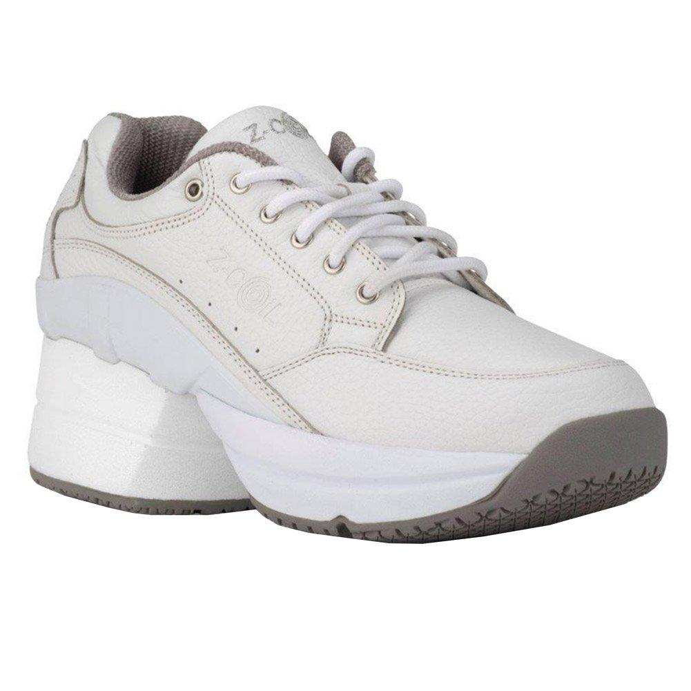 Z-CoiL Pain Relief Footwear Women's Legend Slip Resistant Enclosed CoiL White Leather Tennis Shoe (7 C/D US, White)