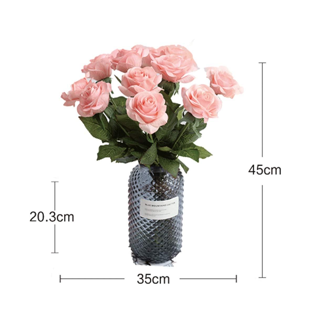 8HAOWENJU 造花、ハイシミュレーションローズブーケ、ガラス花瓶造花セット、室内テーブルデコレーション/ウェディングパーティーデコレーション/フェイクフラワー/シルクフラワー/プラスチックフラワー/フラワーアレンジメント (Color : Pink) B07SZPT7DV Pink