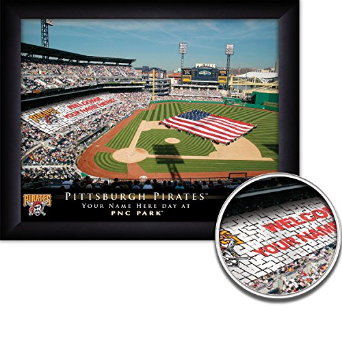 (Pittsburgh Pirates Personalized MLB Card Stunt Baseball Stadium with American Flag Framed Print 13x16 Inches)