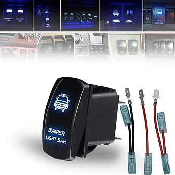 5 Pin 12V LED Lights Blue 20 Amp MicTuning LS083001-HF Laser Roof LED Light Bar On-Off Rocker Switch with Jumper Wire