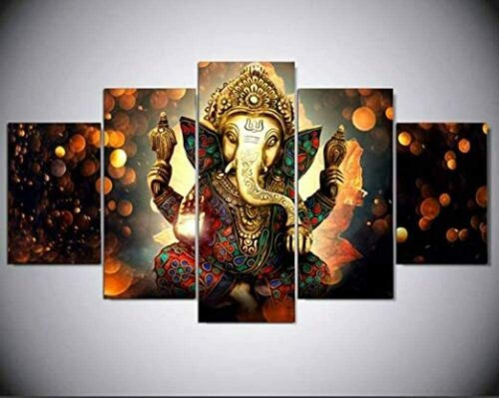 NHGBV Canvas Painting 5 Piece Ganesh Deity Lord Ganesha Indian God 5 Pieces Canvas Prints Wall Art Pictures Modern Canvas Painting Giclee Artwork for Home Decoration (Large Size 60x32inch)