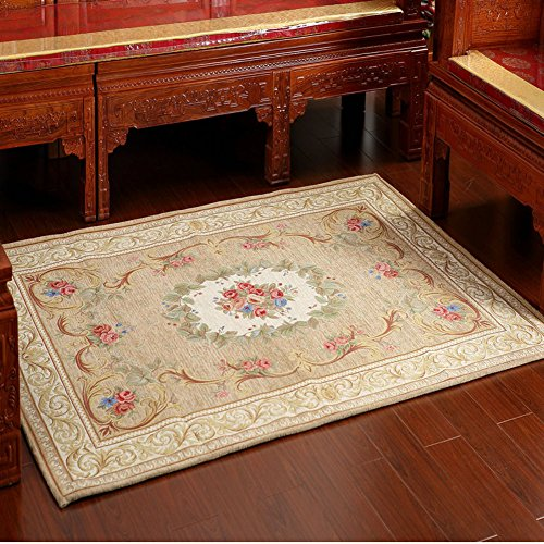 MeMoreCool European Style Rural Dornier Jacquard Rectangle Tea Table Carpet,Living Room /Bedroom Area Rug,Floral Pastoral Design Mat,5579 Inch