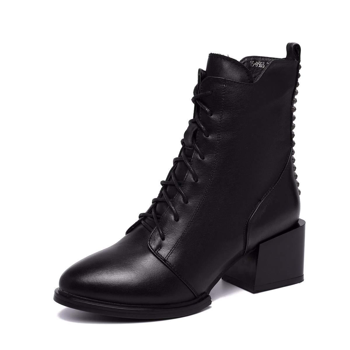 HBDLH Retro Damenschuhe Retro HBDLH Martin Stiefel Heel 6 cm Dicke Sohle Sagte Velveted Stiefel Mid - Fass Kurze Stiefel 1aee7b