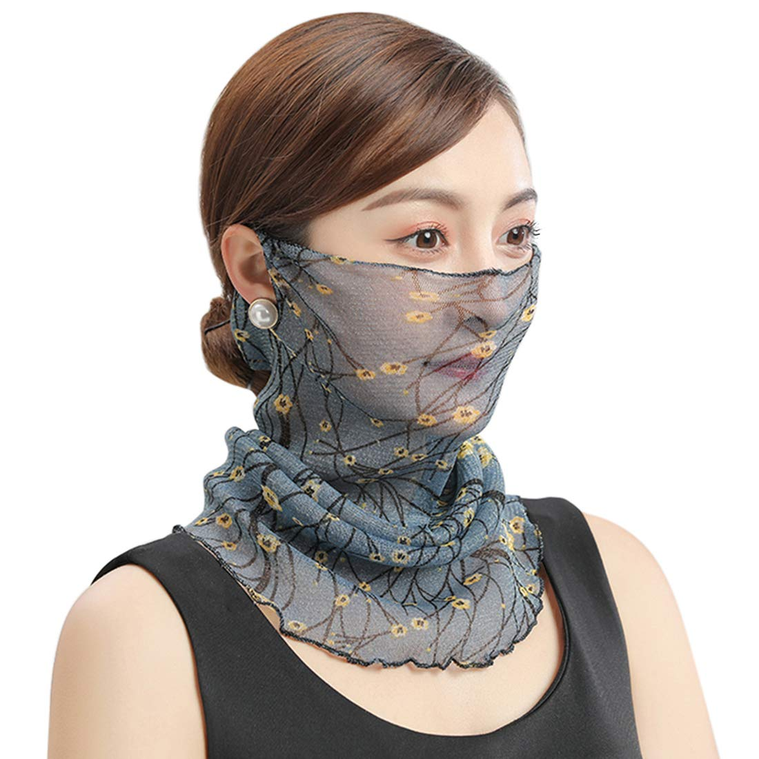 Women Face Bandana Ear Loops Neck Gaiters Balaclavas Face Scarf UV Protection Outdoors Fishing