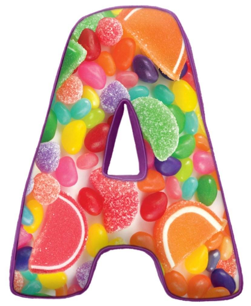 iscream Lettermania A Initial 16'' Jelly Candy Print Fleece Back Microbead Pillow by iscream