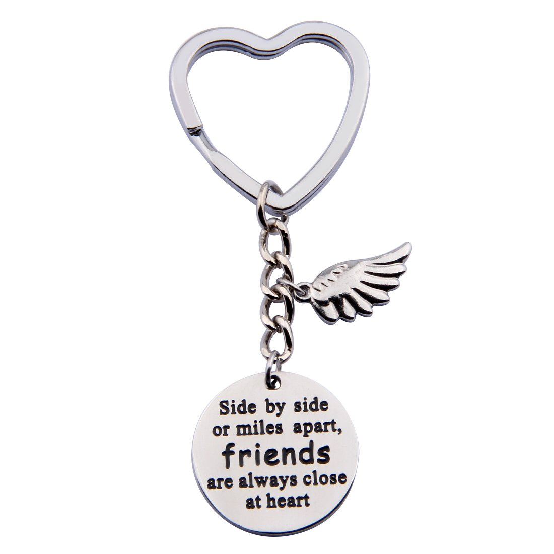SEIRAA Side By Side Or Miles Apart Keychain for Best Friends BFF Friendship Gifts