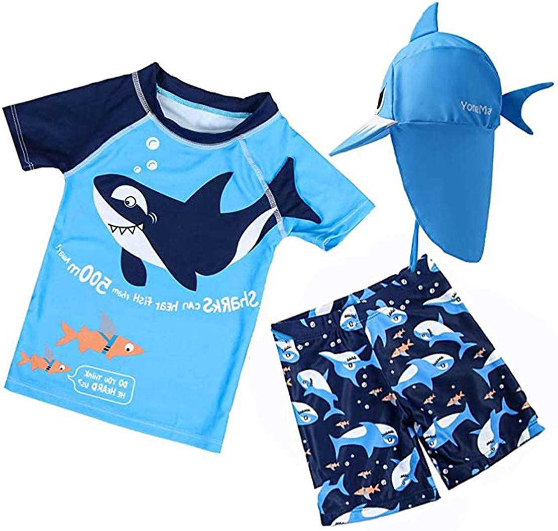 BAOPTEIL Baby Toddler Boys Two Pieces Swimsuit Sets Blue Shark Bathing Suit Rash Guards Sunsuit Swimwear with Hat UPF 50+ FBA