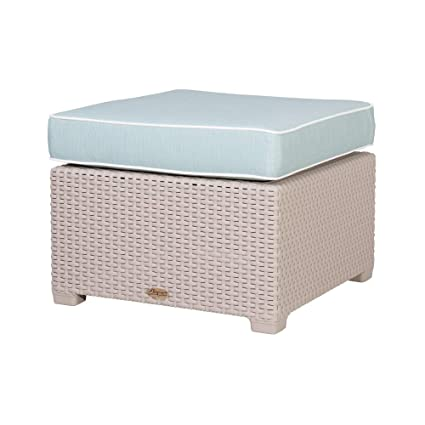 Stupendous Amazon Com Lagoon Magnolia Grey Rattan Ottoman W Blue Caraccident5 Cool Chair Designs And Ideas Caraccident5Info
