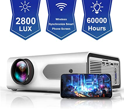 Amazon.com: HOLLYWTOP HD Mini proyector portátil 2800 Lux ...