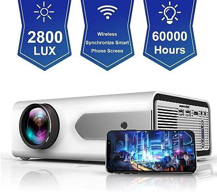 Amazon.com: HOLLYWTOP HD Mini proyector portátil 2800 Lux ...