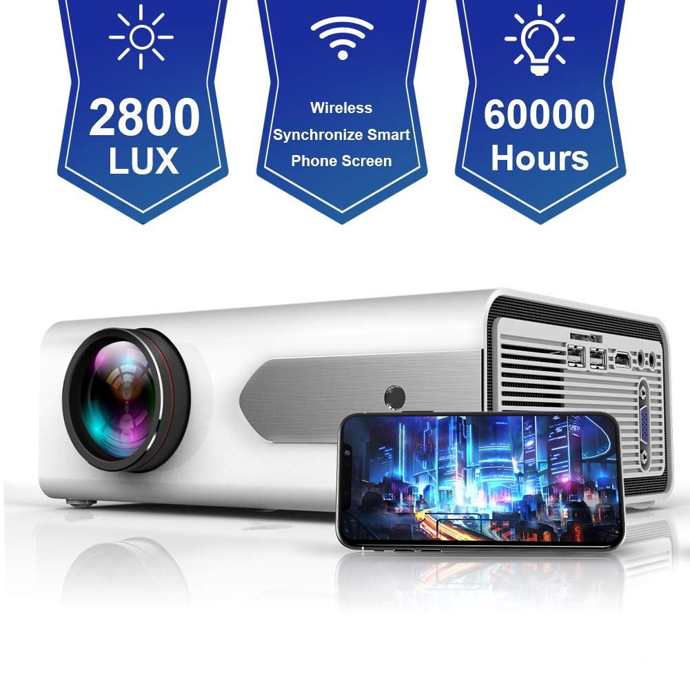 HOLLYWTOP HD Mini Portable Projector 2800 Lux WiFi Wireless Synchronize Smart Phone Screen,1080P Supported 180'' Display, Multimedia Connections, Compatible with Laptop/PS4/Fire TV Stick/Computer/DVD