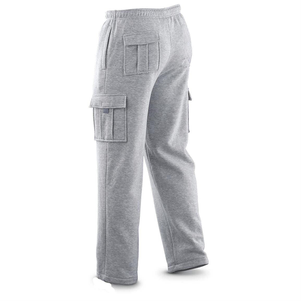 Winter Tex Mens Cargo Pants Sweatpants Truck Fleece Heavy Weight with Elastic Waistband, Fleeced Cargo Pants L-XXL