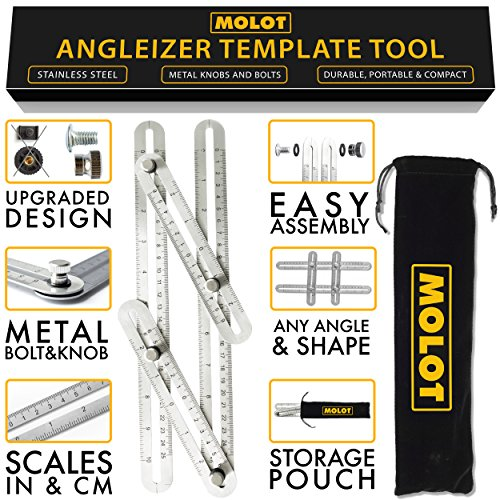 MOLOT Multi Angle Template Tool - Premium Stainless Steel Angle-izer Measuring Ruler Layout Multi-angle Tool with Metal Knobs and Bolts - Perfect for Tiling, Flooring, Brick Laying, Deck Building (Paver Saw Accessories)