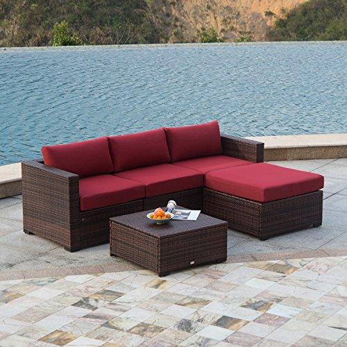 Outdoor Patio Furniture 7pc Multibrown All Weather Wicker: AURO Outdoor Furniture Sectional Sofa Set (5-Piece Set
