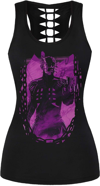 Ocean Plus Femme Cr/âne Sport D/ébardeurs Gothique Cache-c/œur Gilet dentra/înement sans Manches Chemise Criss Cross Noir T-Shirt Halloween