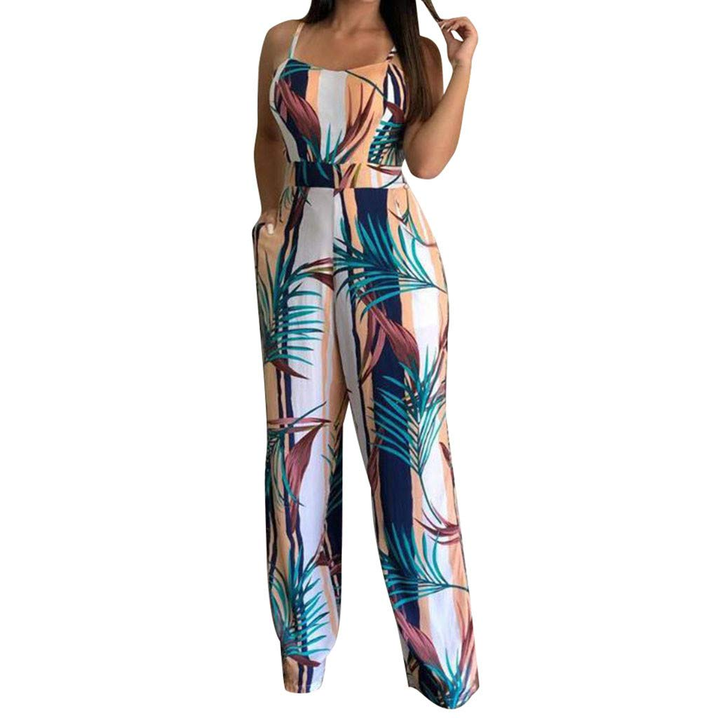 Spaghetti Strap Camisole Long Jumpsuit for Women's Sexy V Neck Sleeveless High Waist Leaf Print Pockets Wide Leg Rompers Playsuits Daorokanduhp
